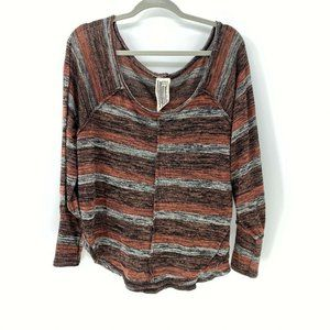 Free People striped slouchy pullover sweater sz XS